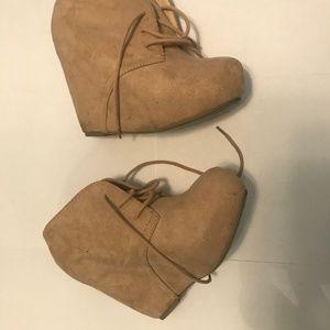 Nude/Tan Platform Suede booties